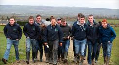 Students from Kildalton College, Kilkenny at the Calf to Beef Farm Walk on the farm of Pat Bowden, Lisdowney, Ballyraggett, Co. Kilkenny. Photo: Damien Eagers