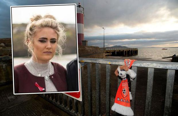 Scene of Buncrana pier tragedy (Inset: Stephanie Knox, the ex-partner of Davitt Walsh, the man who rescued four-month-old Rioghnach Ann McGrotty)