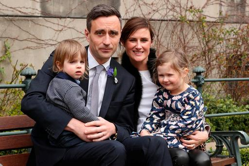 Liver transplant patient, David Earlie from Goatstown, Co. Dublin, pictured with his wife Lisa and their children Matthew (2), and Elizabeth (4), at the launch of the Irish Kidney Association organ donor awareness week 2018. Photo: Robbie Reynolds