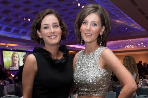 Kate O'Connell (left) and Theresa Newman at the Fine Gael Presidential Dinner last October. Photo: Fergal Phillips