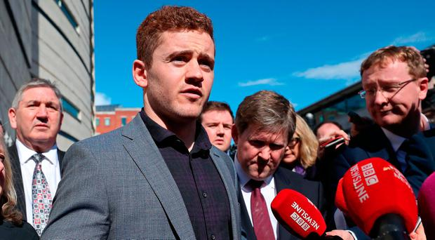 Ireland and Ulster rugby player Paddy Jackson speaking outside Belfast Crown Court after he was found not guilty of raping a woman Photo: Niall Carson/PA Wire