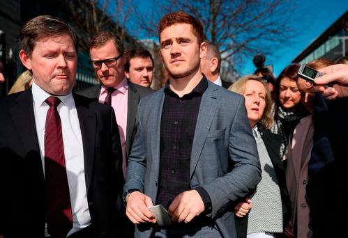 Ireland and Ulster rugby player Paddy Jackson leaving Belfast Crown Court after he was found not guilty of raping a woman at a property in south Belfast in June 2016 Picture date: Wednesday March 28, 2018. Brian Lawless/PA Wire
