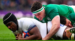 17 March 2018; Maro Itoje of England is tackled by James Ryan of Ireland during the NatWest Six Nations Rugby Championship match between England and Ireland at Twickenham Stadium in London, England. Photo by Ramsey Cardy/Sportsfile