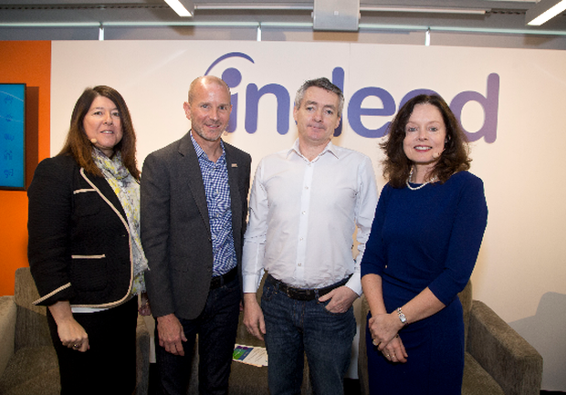 (L-R) Sandra Healy, Head of Diversity and Inclusion DCU; Paul Wolfe, SVP of Human Resources, Indeed; Paddy Connolly, CEO, Inclusion Group Ireland; Marie Moynihan, Senior VP of Talent Acquisition, Dell EMC Picture Colm Mahady / Fennells