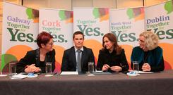 Ailbhe Smyth, Dr Mark Murphy GP, Dr Rhona Mahony and Dr Susan Smith GP & Professor of Primary Care Medicine of the Together for Yes campaign at Buswells Hotel, Dublin. Photo: Gareth Chaney Collins