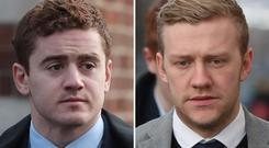 Ireland and Ulster rugby players Paddy Jackson and Stuart Olding (Niall Carson/PA)