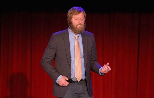 LOS ANGELES, CA - DECEMBER 11: Comedian Rory Scovel speaks onstage at Variety's 5th annual Power of Comedy presented by TBS benefiting the Noreen Fraser Foundation at The Belasco Theater on December 11, 2014 in Los Angeles, California. (Photo by Joe Scarnici/Getty Images for Variety)