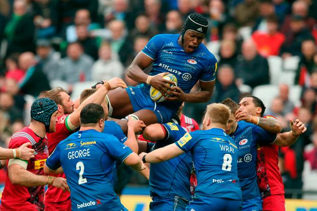 Maro Itoje in action against Harlequins during the clash with Saracens in London last weekend. Photo: Paul Harding/PA