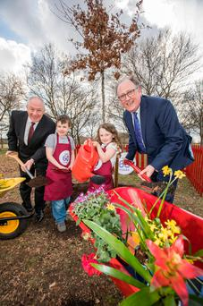 Minister Michael Ring, Jake English (7), Brooke Walton (5), and Martin Kelleher of SuperValu at the launch of the 2018 SuperValu TidyTowns Competition