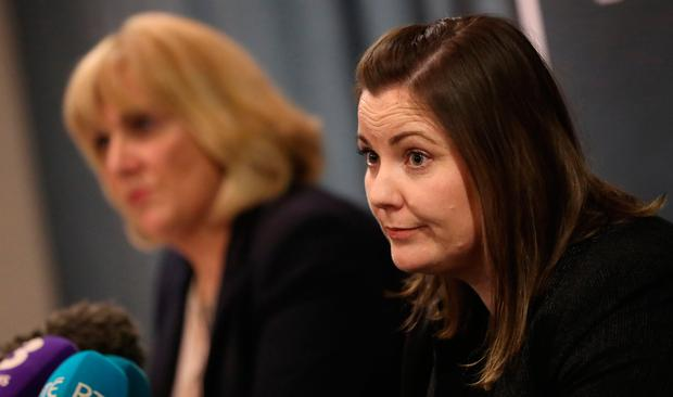 PSNI Detective Chief Superintendent Paula Hilman (left) and Detective Chief Inspector Zoe McGee hold a press conference at the Hilton Hotel in Belfast in response to the acquittal of Ireland rugby players Paddy Jackson and Stuart Olding. Photo: Niall Carson/PA Wire