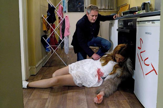 Karen is found bleeding with the word 'slut' written on the fridge in lipstick. Fair City, RTE One