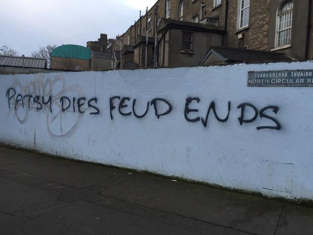 Grafitti that has been sprayed on a wall on the North Circular Road