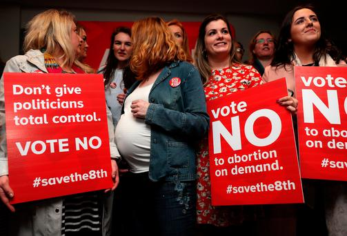 Campaigners at the official launch of the Save the 8th campaign Photo: Brian Lawless/PA Wire