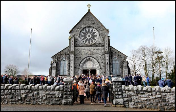 Mourners at Elisha Gault's funeral mass at the Church of the Assumption in Piltown Co Kilkenny. Picture: Steve Humphreys