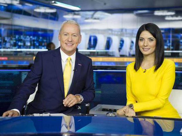Jim White and Natalie Sawyer Pic: Sky Sports