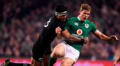 Malakai Fekitoa tackles Andrew Trimble during New Zealand's victory against Ireland in 2016, which was an eventful game for the All Black. Photo: Brendan Moran/Sportsfile