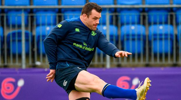 Cian Healy goes through his paces in training ahead of Sunday's clash with Saracens. Photo: Ramsey Cardy/Sportsfile
