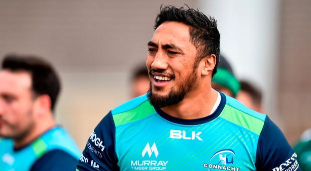 Bundee Aki during squad training at the Sportsground in Galway. Photo: Seb Daly/Sportsfile