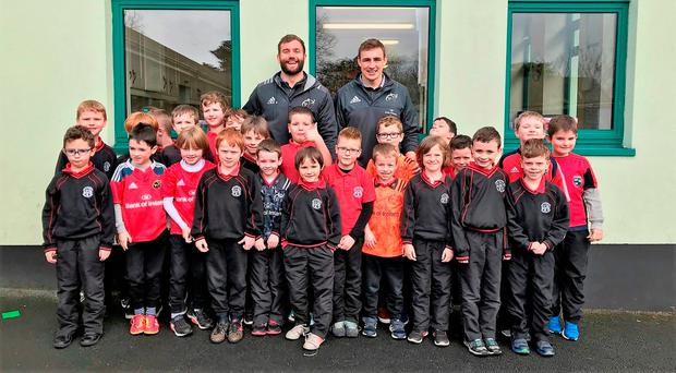 Jaco Taute and Tommy O'Donnell visiting pupils at Adare National School