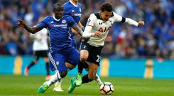 Dele Alli is tackled by N'Golo Kante during last season's FA Cup semi-final against Chelsea and he is likely to be paid similar attention on Sunday. Photo: Getty Images
