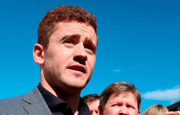 Paddy Jackson speaking outside Belfast Crown Court. Photo: PA