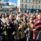 People at a rally expressing solidarity with the woman at the centre of the Belfast rape trial outside Cork City Hall yesterday. Photo: Daragh McSweeney/Provision