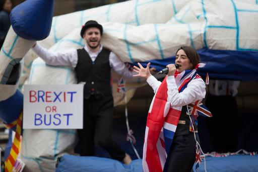 A theatre piece called Inflation by Tangled Feet which tries to educate the audience on the worldwide banking collapse and Brexit, was staged during the Shop Front Festival in Coventry. Photo: PA
