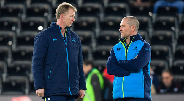 24 March 2018; Leinster head coach Leo Cullen, left, and senior coach Stuart Lancaster ahead of the Guinness PRO14 Round 18 match between Ospreys and Leinster at the Liberty Stadium in Swansea, Wales. Photo by Ramsey Cardy/Sportsfile
