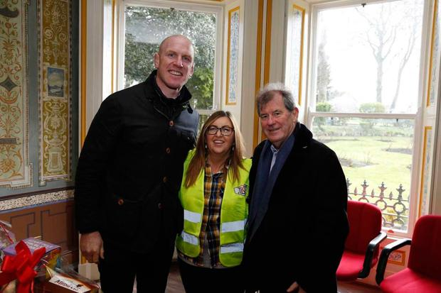 (L-R) Rugby legend Paul O'Connell, Tait House chief executive Tracey Lynch and J.P. McManus