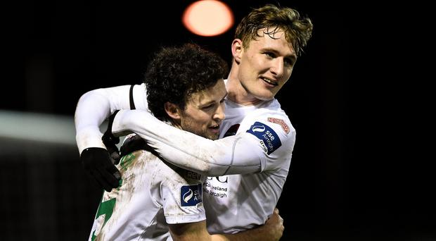 30 March 2018; Barry McNamee of Cork City, left, celebrates with team-mate Kieran Sadlier after scoring his side's second goal during the SSE Airtricity League Premier Division match between Bray Wanderers and Cork City at the Carlisle Grounds in Wicklow. Photo by Seb Daly/Sportsfile