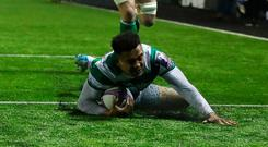 Newcastle Falcons' Zach Kibirige scores his team's second try against CA Brive. Photo: Getty Images