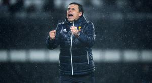 DERBY, ENGLAND - MARCH 30: Chris Coleman manager of Sunderland celebrates after the Sky Bet Championship match between Derby County and Sunderland at iPro Stadium on March 30, 2018 in Derby, England. (Photo by Nathan Stirk/Getty Images)