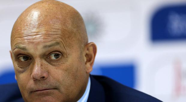 AMMAN, JORDAN - NOVEMBER 14: New Jordan coach Ray Wilkins speaks during a press conference after an International Friendly match between Jordan and South Korea at King Abdullah Stadium on November 14, 2014 in Amman, Jordan. (Photo by Salah Malkawi/ Getty Images)
