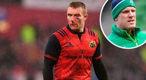 Keith Earls is missing for Munster and (inset) Paul O'Connell