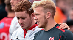 Paddy Jackson, left, and Stuart Olding were sacked by Ulster