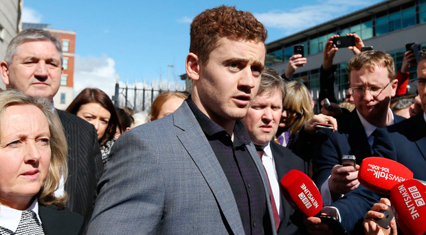 Paddy Jackson making a statement outside Laganside Courts in Belfast after he was found not guilty in court last week. Photo: RollingNews.ie