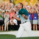 Sergio Garcia makes birdie on the 18th at Augusta last year. Photo: AP