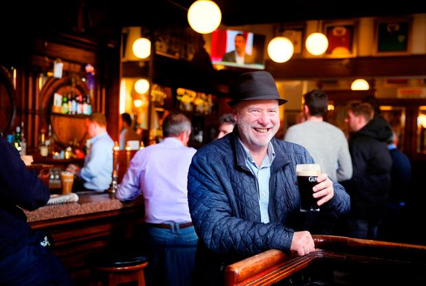 Slainte: Roving reporter Liam Collins enjoys a pint of Guinness in The Swan, on Aungier Street, Dublin, on Good Friday. Photo: David Conachy