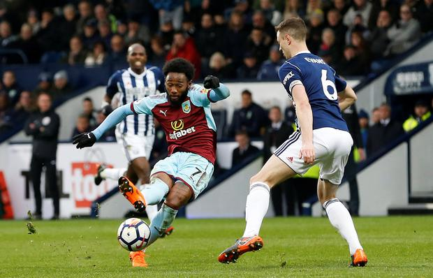 Burnley's Georges-Kevin N'Koudou shoots. Photo: Reuters