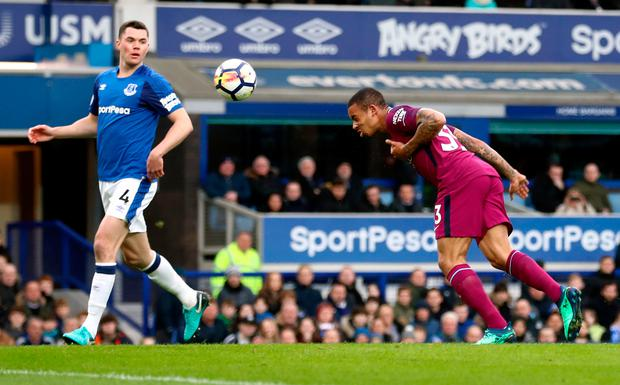 Manchester City's Gabriel Jesus scores his side's second goal of the game. Photo: PA
