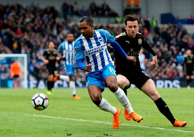 Brighton's Jose Izquierdo and Leicester's Ben Chillwell tussle for possession. Photo: PA