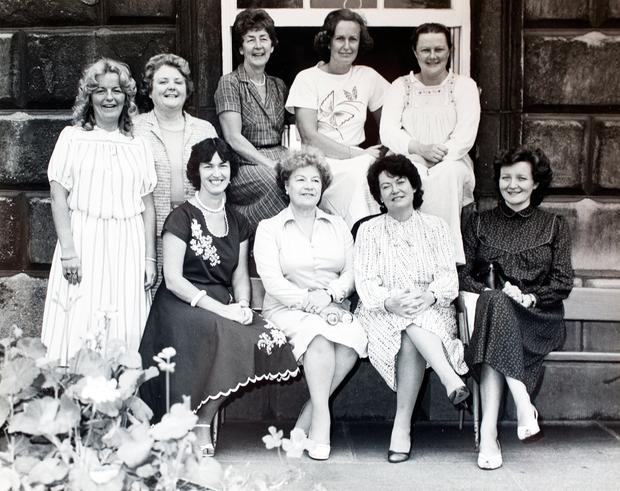 Fine Gael women TDs elected in 1982, back row: Myra Barry, Monica Barnes, Nuala Fennell, Avril Doyle and Mary Flaherty, front row: Nora Owen, Alice Glenn, Gemma Hussey and Madeleine Taylor-Quinn