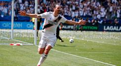 Los Angeles Galaxy's Zlatan Ibrahimovic celebrates his second goal