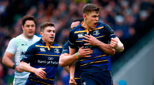 Garry Ringrose of Leinster celebrates after scoring his side's first try