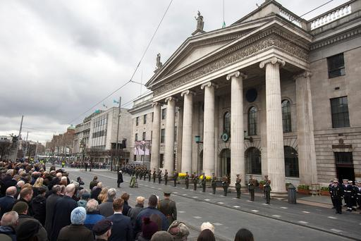 President Michael D Higgins lays a wreath at the Easter 1916 Commemoration ceremony at the GPO. Photo: Tony Gavin 1/4/2018