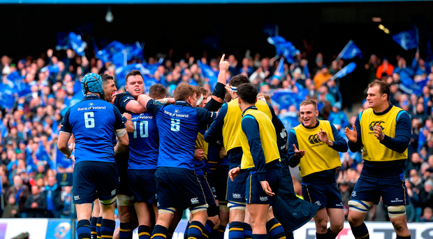 Leinster players congratulate Dan Leavy after he scored their side's second try