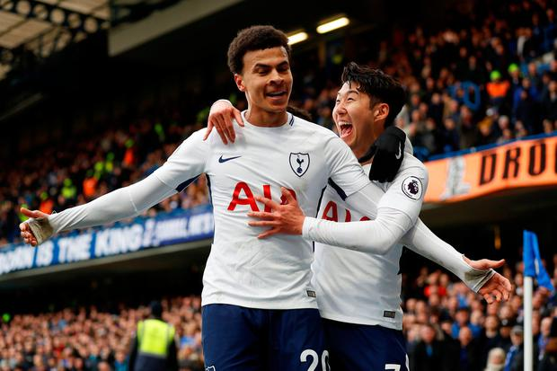 Tottenham's Dele Alli celebrates scoring their second goal with Son Heung-min