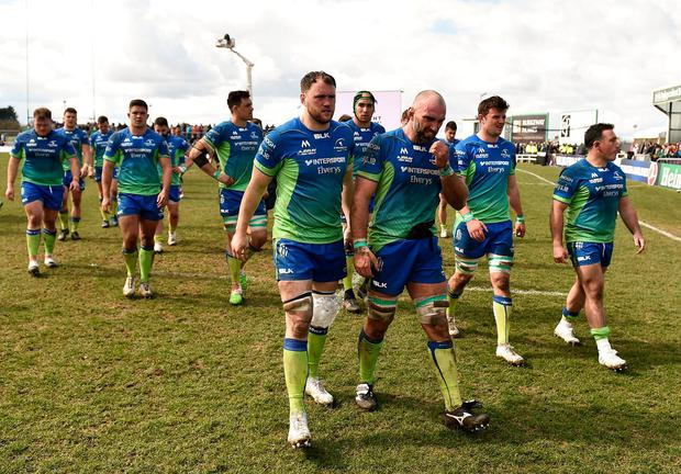 Connacht captain John Muldoon (centre right) and Eoin McKeon can't hide their dejection after their Challenge Cup defeat to Gloucester. Photo: Seb Daly/Sportsfile