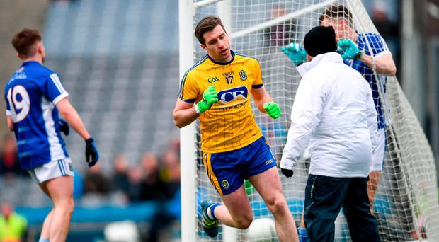 Cathal Cregg wheels away after scoring Roscommon's fourth goal in yesterday's Division 2 final. Photo: Stephen McCarthy/Sportsfile