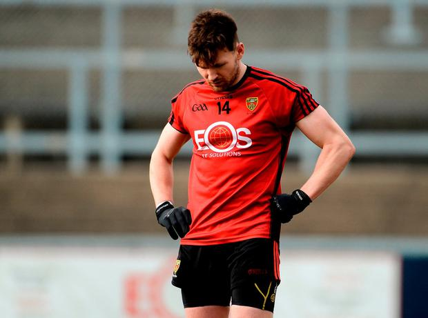 Donal O'Hare hangs his head at the final whistle in Páirc Esler, Newry. Photo: Oliver McVeigh/Sportsfile